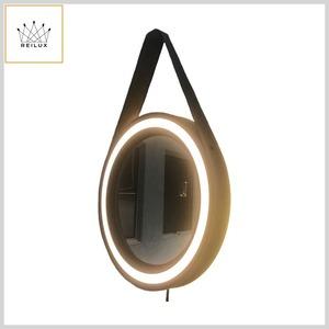 Espelho Led Decorativo Adnet Alumínio c/Alça Couro Ecológico